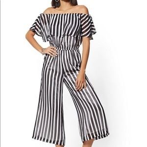 Stripe Off-The-Shoulder Jumpsuit